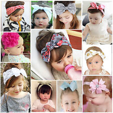 Baby Girl Kid Rabbit Headband Bowknot Turban Hairband Elastic Hair Band Headwear
