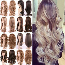 Fashion Black Roots Ombre Full Wig Long Hair Straight Curly Wave Cosplay Hair M