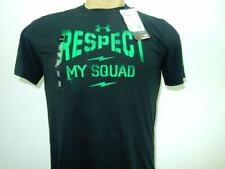 NWT $20 Boy's Under Armour 'Respect My Squad' Black/Green HeatGear T-Shirt Youth