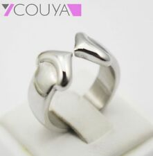 Fashion 316L Stainless Steel Double Heart Love Silver Plated Wedding Band Rings