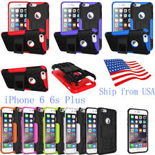Hybrid Shockproof Rugged Rubber Hard Back With Stand Case Cover iPhone 6 6s Plus