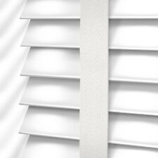 MADE TO MEASURE WHITE WOODEN VENETIAN BLIND WITH TAPES REAL WOOD