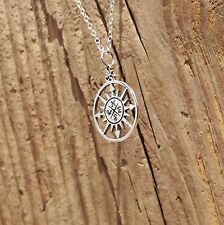 Sterling Silver Compass Pendant Travel Necklace 925 Adventure