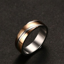Sz 5-13 Men's 18K Rose Gold Plated Stainless Steel Engagement Band Wedding Ring