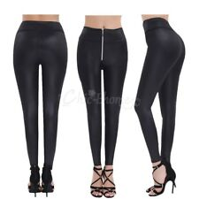 Women Faux Leather High Waist Zipper Stretchy Tight Leggings Pants Slim Trouser