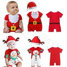 Infant Baby Boy Girl Santa Christmas Xmas Romper Jumpsuit Hat Cosplay Outfit Set