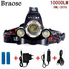 ZOOM 10000LM CREE XM-L XML T6 LED 18650 Headlamp Headlight Lamp Light Chargers
