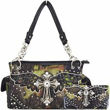 Western Country Camouflage Cross Purse Concealed Carry Handbags Wallet Set Black