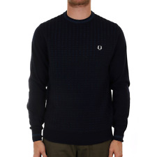 Fred Perry Waffle Knit Crew Neck Jumper - Navy