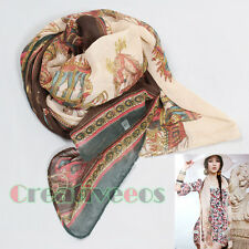 Fashion Womens Vintage National Retro Style Carriage Print Long Scarf Shawl Wrap