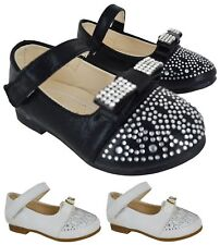 NEW INFANTS BABY CHILDREN GIRLS KIDS DIAMANTE BOW WEDDING PARTY SHOES SIZE 3-8