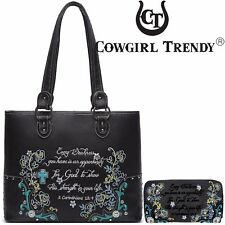 Embroidery Scripture Bible Verse Flower Cross Purse Country Totes Handbag Wallet