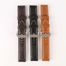 USA Men'Watch Band Strap THICK Genuine Leather Silver Buckle 20mm 22mm 24mm 26mm