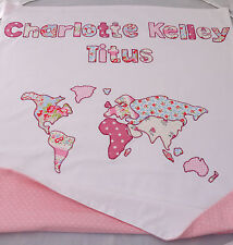 Baby blanket pram crib cot toddler bed personalised quilt girls boys gift sewn