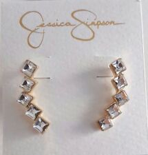 Jessica Simpson Storyteller Earrings Ear Crawler Square Rhinestones Gold Silver