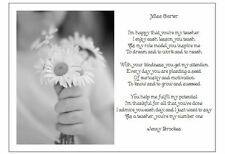A4 Personalised Poem Thank you for being my school teacher - Leaving/graduation