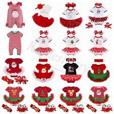 Baby Girl My First Christmas Santa Romper Bodysuit Tutu Dress Up Outfit Clothes