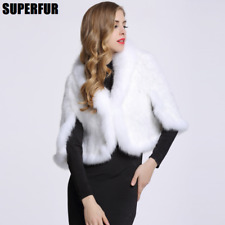 100% Genuine Knitted Mink Fur+Fox Fur Ladis Women's Cape Stole Shawl Poncho Coat