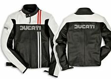 Men's Replica Ducati Leather Motorbike Jacket with CE Armor Protection