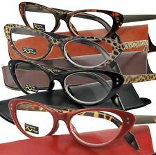 CLASSIC CAT EYE Retro Vintage Reading Glasses Spring Hinge Case +1.00 - +6.00