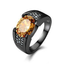 Men's Gift Size 8,9,10,11,12 Solitaire Topaz Sapphire Black 18K Gold Filled Ring