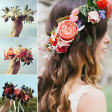 AU Women Wedding Boho Flower Hair Garland Crown Headband Floral Wreath Headpiece