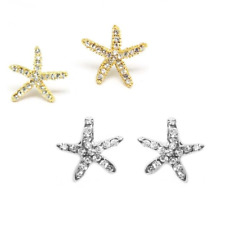 Rhinestone Crystal Starfish Stud Earrings - Gold Plated or Silver Plated