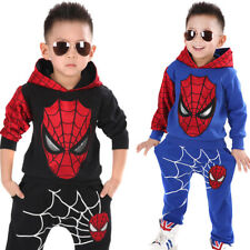 2Pcs Cool Kids Boy Spiderman Cosplay Costumes Party Fall Tops+Pants Trousers Set
