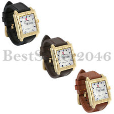 Fashion Waterproof Mens Square White Dial Date Leather Quartz Analog Wrist Watch