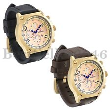 Fashion Mens Gold Dial Date Leather Strap Waterproof Quartz Analog Wrist Watch