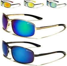 NEW SUNGLASSES MENS LADIES UNISEX BLACK MIRROR SPORTS METAL AVIATOR WRAP UV400