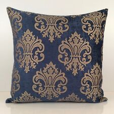 Royal Blue (Navy Blue) and Tan Throw Pillow Cover, Decorative Pillow Cover