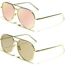 NEW SUNGLASSES LADIES WOMENS GIRLS DESIGNER FLAT LENS MIRRORED AVIATOR RETRO