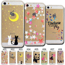 TPU Rubber Back Silicone Gel Soft Case Skin Glitter Cover For Apple iPhone SE/5S