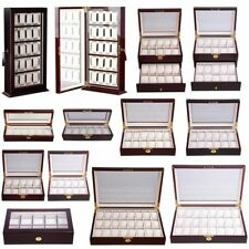 Wood&Leather 10 12 20 Slots Watch Box Display Glass Top Jewelry Case Organizer J