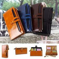 Women Genuine Leather Purse Long Wallet Zipper Pocket Card Holder Handbag Clutch