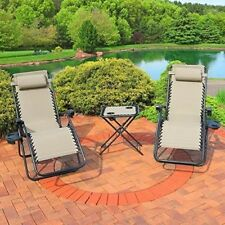 Recliner Lounge Chairs Set Garden Outdoor Side Table Yard Tray Pillows Reclining