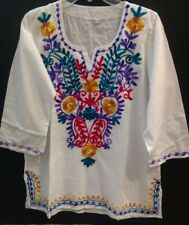 Mexican White Embroidery V neck line Peasant Tunic Blouse 3/4 sleeve size M