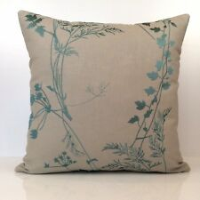 Turquoise Blue and Natural Throw Pillow Cover -  Silk Embroidery, Cotton Blend
