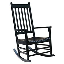 Solid Wood Rocker Chair Porch Rocking Patio Outdoor Black Classic Style Furnitur