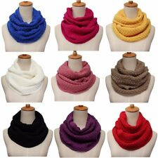 Women Winter Warm Infinity 2 Circles Cable Plush Knit Cowl Neck Long Scarf Shawl