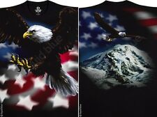 AMERICAN EAGLE II-2 sided T-SHIRT-PATRIOTIC-FLAG-L-XL-XXL, 3X, 4X, 5X, 6X