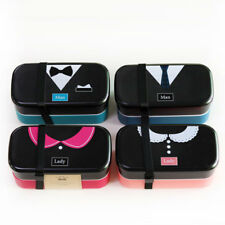 French Romantic 2 Tier Bento Lunch Box Food Container Storage w/ Lunch Tote Bag