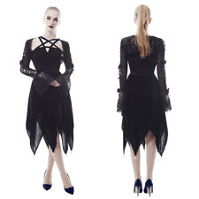 Women Gothic Dress Asymmetric Skirt Short Black Lace Dress Halloween Costume