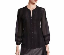 NWT Joie Newson Embroidered Silk Georgette Pleated Black Blouse Top Shirt - MED