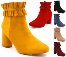 New Chic Women Suede Pleated Decor Mid Block Heel Ankle Boots Booties Shoes Size