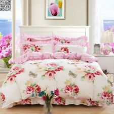 100% Cotton Quilt/Doona Cover Set Floral Double Queen King Size Bed Pillow Cases