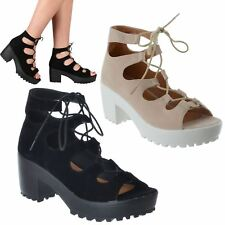 LADIES WOMENS NEW CHUNKY SOLE PLATFORM LACE UP BLOCK MID HEEL SANDALS SHOES SIZE