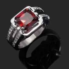 18K Gold Filled Mens Ring Of Red CZ Gem Fashion Engagement Gift Size 8,9,10,12