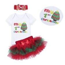 3PCS Baby Girls My 1st Christmas Party Romper Tutu Skirt Outfits Dress Clothes